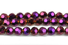 8mm Faceted METALLIC PURPLE GOLD Round Glass Crystal Beads, 50 beads, bgl1443