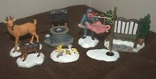 Lot of 7 Christmas Village Accessories Deer Dog Birds Afternoon Tea Bench Well..