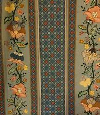 Pair of vintage curtains, blue, flower pattern, each 168cm wide x 183cm long