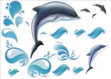 "Ocean Dolphin Artwork Kids Living Bedroom Decor Wall Sticker Decal 15""W X 23""H"