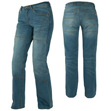 Ladies Womens Motorcycle Tight Fit Stretchy Denim Jeans With CE Armour Blue