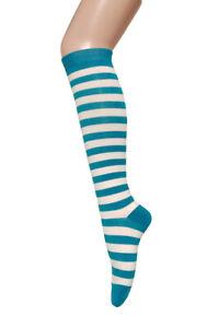 Women's Fashion  Multi-Striped Knee High Casual Tube Roller Skate Cotton Socks
