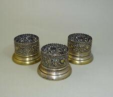 3 Victorian Brass Tea Glass Holder