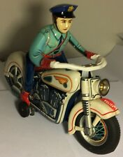 Rare Masterpiece Vintage Litho Police Motorcycle Trade Mark Modern Toys, Japan