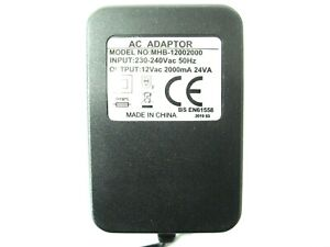 2000ma 12v AC-AC (AC Output) Mains Power Adaptor/Supply/Charger (2a, 24w, 24va)