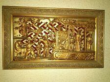 ARTE CHINO  Cuadro bajorelieve en talla de madera pintado manual. Siglo XIX ?