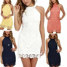AU Summer Women Sleeveless Lace Floral Evening Party Cocktail Short Mini Dress