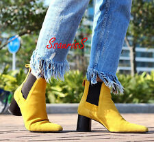 ZARA MUSTARD YELLOW STRETCH LEATHER SUEDE MID HEEL ANKLE BOOTS, UK 3 / EUR 36