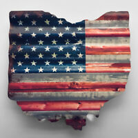18 Inch State of Ohio Rustic American Flag Corrugated Metal Sign
