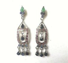 Sterling Silver Drop Dangle Earrings - Ruby, Emerald & Sapphire Gems Plum BOXD