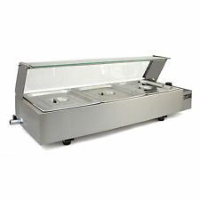3 Pan Wet Well Bain Marie Stainless Steel 1/2 Gastronorm Pan Catering Commercial