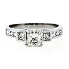 Estate 18k White Gold 1.42ct GIA Radiant Cut Diamond Three Stone Engagement Ring