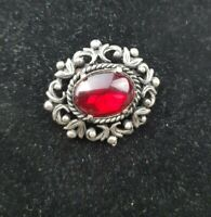 Victorian Revival Detailed boarder Ruby Red glass cabochon Rhinestone Brooch