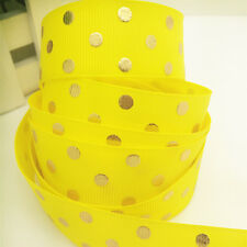 New Diy 5 yards(25mm)width print Yellow Bronzing ribbon wedding craft supplies
