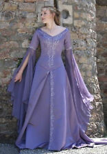 Exllent Medieval Wedding Dress LOTR Renaissance Fantasy Gown Lavender Fairy Gown