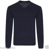 MENS PLAIN LONG SLEEVE V NECK SOFT KNITTED CASUAL FORMAL JUMPER PULLOVER BIG NEW