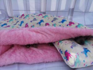 Cream Unicorn Cuddle Fleece Snuggle Wrap Cave Dog Beds