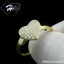 WOMEN 925 STERLING SILVER GOLD/SILVER HEART SHAPE ENGAGEMENT RING*SR100