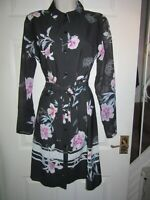 BNWT UK 8 LIPSY Dress Long Sleeve Shirt Style Button Front Collar Floral Black
