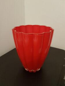 Schwere Vase Glas Wellenglas ROT  TOP