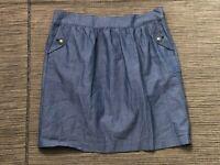 Brooks Brothers Adult Womens 10 Skirt A Line Pleated Pinstripe Blue