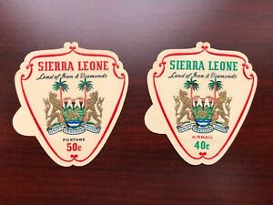 Sierra Leone 1965 Scott #316+C55, MI #348-349 Self-Adhesive Coat of Arms Mint LH