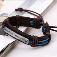 Men DIY Handmade Cuff Surfer Tribal Hemp braided Wrap Wrist Leather Bracelet.^^
