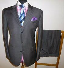 Mens Jaeger Suit 40 R Grey & Purple Stripe 100% Wool Jacket Trousers W 34 x 32 L