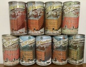 D.G. Yeungling & Son Premium. 150th - 159thYear. Alloy & Steel Can Set x 9 USA.