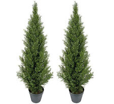 2 Artificial 3' Cedar Topiary Tree In/ Outdoor Plant in Weighted Pot Patio Fake