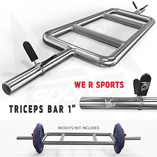 "Triceps Bar Set With Spring Collar Hammer Curl Standard 1"" Barbell Fitness Gym"