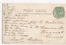 Mrs G Nicholls St Dominic Street Penzance 1905  316a