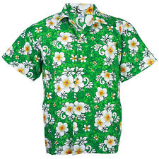 Hawaiian Shirt Aloha Hibiscus Chaba Leisure Beach Holiday Green XL he265t