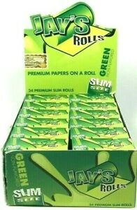 """24 Books Juicy Jay's Green 21 Feet By 1.75"""" Cigarette Rolling Papers On A Roll"""