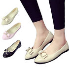 Ballerines Femme Mocassins en Cuir Verni Mode Chaussures Plates avec Nœud