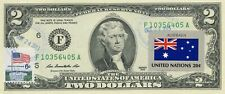 $2 DOLLARS 2013 STAMP CANCEL FLAG OF UN FROM AUSTRALIA LUCKY MONEY VALUE $125