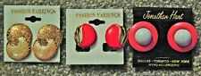 LOT OF 3 FASHION Clip On/ stud Earrings NEW ON CARD, ENAMEL FINISH, GOLD TRIMMED