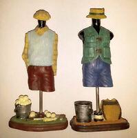 Lot de Figurines Golfeur & Pêcheur