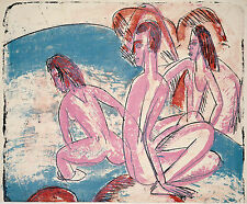 Ernst Kirchner Reproduction: Three Bathers by Stones - Fine Art Print
