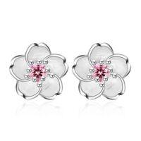 925 Sterling Silver Inlay Crystal Flower Stud Earrings Womens Romantic Sakura