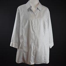 CJ BANKS 2X Plus Blouse Black Polka Dot Top NEW Light Cotton Shirt