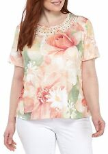 $58 ALFRED DUNNER BOTANICAL GARDENS FLORAL KNIT PLUS SIZE TOP  SIZE 3X NWT