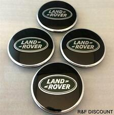 New Land Rover Alloy Wheel Centre caps Black/Green Discovery 3,4 Freelander 1,2