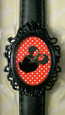 Disney Minnie Mouse Silhouette Silver Hands Black Filigree Women's Fashion Watch