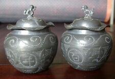 ANCIEN PAIRE DE POT EN LAITON  DRAGON PAIX  355G CHINE