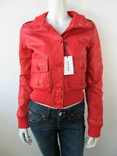 Denny Rose Bomber Jacke Jacket 0263 Vera Pelle Leder Jas Rot Red Neu S M