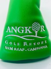 Angkor Golf Resort Siem Reap Cambodia Lime Leather Magnet Blade Putter Headcover