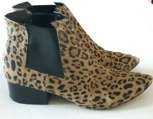 Ladies French Connection leopard print ankle boots size 6 block heel Chelsea