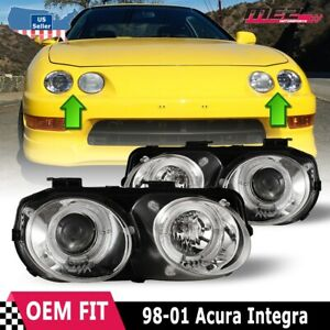 Fits 98-01 Acura Integra PAIR Projector Halo Headlights Chrome Clear Lens