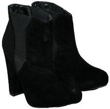 Donna Nero In Finta Pelle Scamosciata Pull On Boot alla moda con inserti laterali in Taglia 6